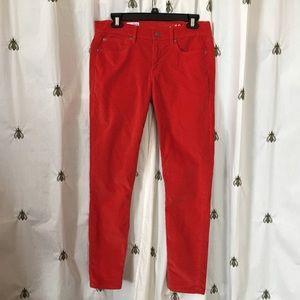 Gap Legging Jean Corduroys, Coral Red, size 29, 8R